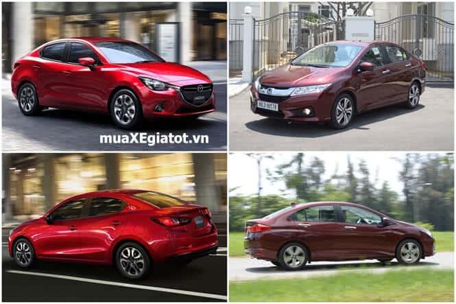 mazda2 vs honda city muaxegiatot copy - Nên chọn Honda City hay Mazda2 Sedan tại Việt Nam - Muaxegiatot.vn